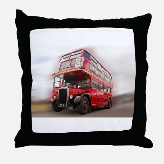 Old Red London Bus. Throw Pillow