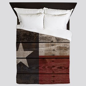 Wood Crate Texas Flag Queen Duvet