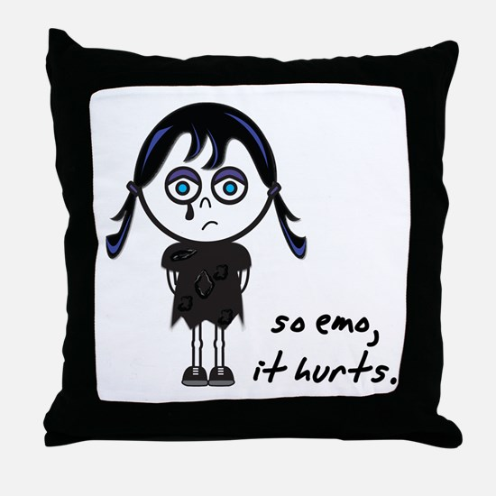 So Emo, It Hurts (Emo Girl) Throw Pillow