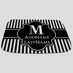 Stripes Pattern with Monogram - Black and Bathmat