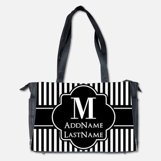 Stripes Pattern with Monogram - Black a Diaper Bag