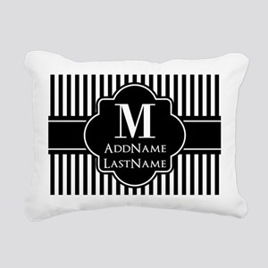 Stripes Pattern with Mon Rectangular Canvas Pillow