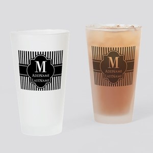 Stripes Pattern with Monogram - Bla Drinking Glass