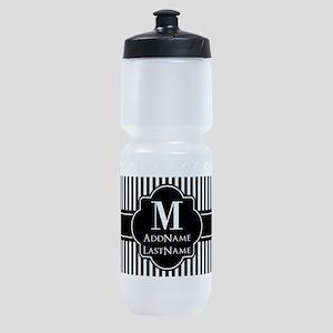 Stripes Pattern with Monogram - Blac Sports Bottle
