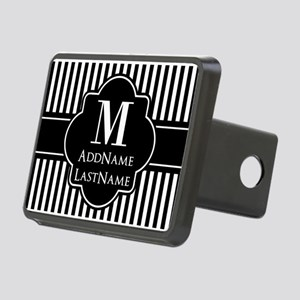 Stripes Pattern with Monog Rectangular Hitch Cover