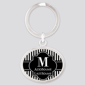 Stripes Pattern with Monogram - Blac Oval Keychain