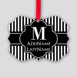 Stripes Pattern with Monogram - B Picture Ornament