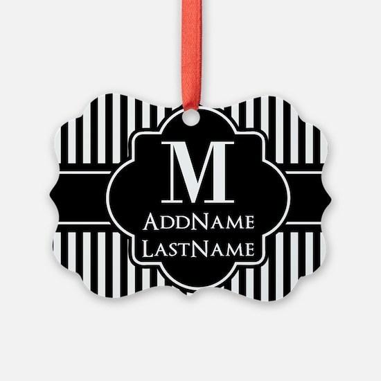 Stripes Pattern with Monogram - B Ornament
