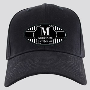 Stripes Pattern with Monogram - Black an Black Cap
