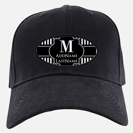 Stripes Pattern with Monogram - Black an Baseball Hat
