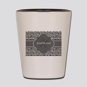 Gray Owl Pattern Monogram Shot Glass