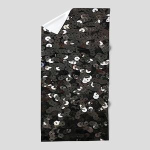 chic glitter black Sequins Beach Towel