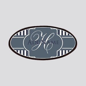 Navy Blue Stripes Monogram Patch