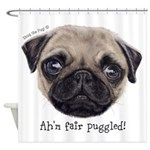Painted Wee Scottish Pug Shower Curtain