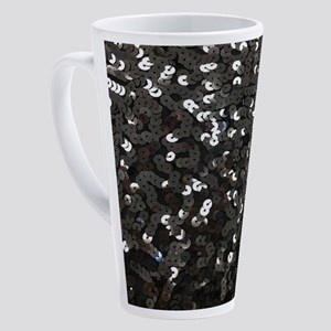 chic glitter black Sequins 17 oz Latte Mug