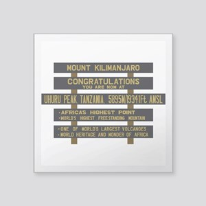 "Mount Kilimanjaro, Uhuru Pe Square Sticker 3"" x 3"""