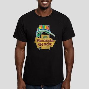 Pensacola Beach Sign, Men's Fitted T-Shirt (dark)