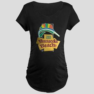 Pensacola Beach Sign, Flori Maternity Dark T-Shirt