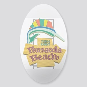 Pensacola Beach Sign, Florida Sticker (Oval)