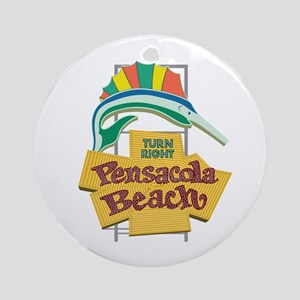 Pensacola Beach Sign, Florida Round Ornament