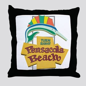Pensacola Beach Sign, Florida Throw Pillow