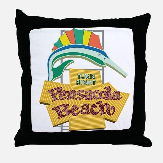 Pensacola Beach Sign, Florida Throw Pillow