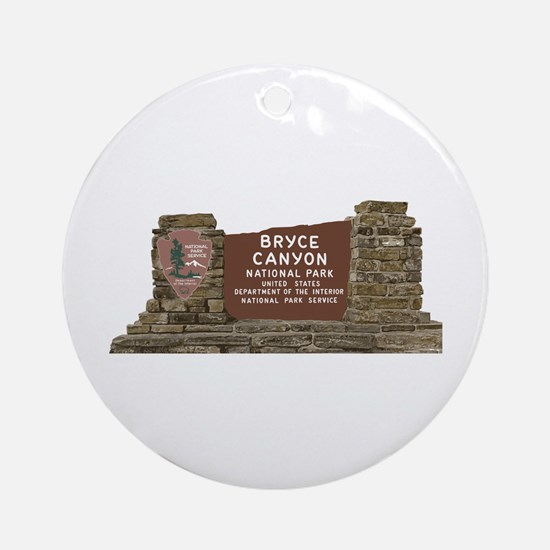 Bryce Canyon National Park Sign, Ut Round Ornament