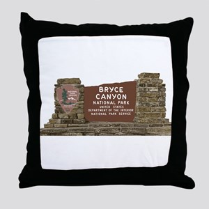 Bryce Canyon National Park Sign, Utah Throw Pillow