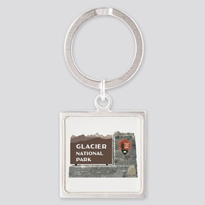 Glacier National Park Sign, Montan Square Keychain