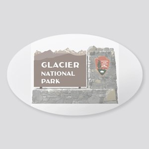 Glacier National Park Sign, Montana Sticker (Oval)