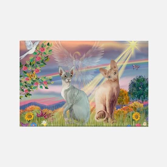 Cloud Angel / Sphynx cat Rectangle Magnet