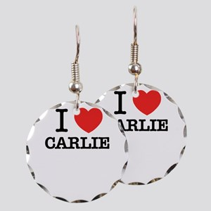 I Love CARLIE Earring Circle Charm