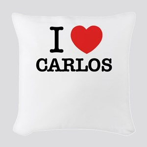 I Love CARLOS Woven Throw Pillow