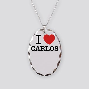 I Love CARLOS Necklace Oval Charm