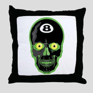 Green Eight Ball Skull Throw Pillow
