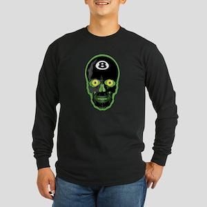 Green Eight Ball Skull Long Sleeve Dark T-Shirt