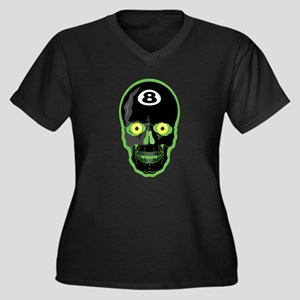 Green Eight Ball Skull Women's Plus Size V-Neck Da