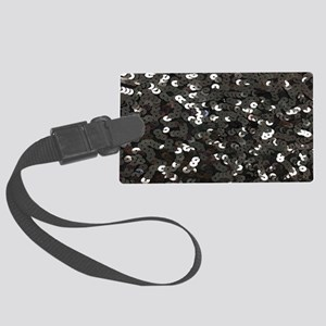 chic glitter black Sequins Large Luggage Tag