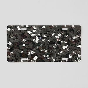 chic glitter black Sequins Aluminum License Plate