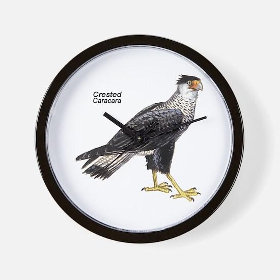 Crested Caracara Bird Wall Clock