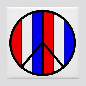 Red White Blue Peace Sign Tile Coaster