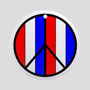 Red White Blue Peace Sign Keepsake (Round)
