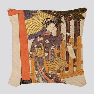 Japanese Women in Kimono Woven Throw Pillow