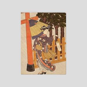 Japanese Women in Kimono 5'x7'Area Rug