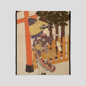 Japanese Women in Kimono Throw Blanket