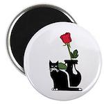 Black Cat and Rose Magnet