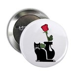 """Black Cat and Rose 2.25"""" Button"""