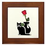 Black Cat and Rose Framed Tile
