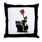 Black Cat and Rose Throw Pillow