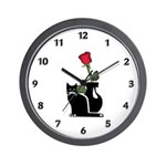 Black Cat and Rose Wall Clock